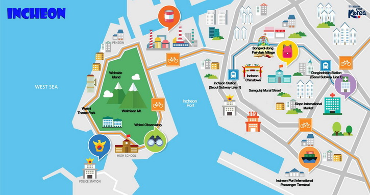 Incheon tourist map